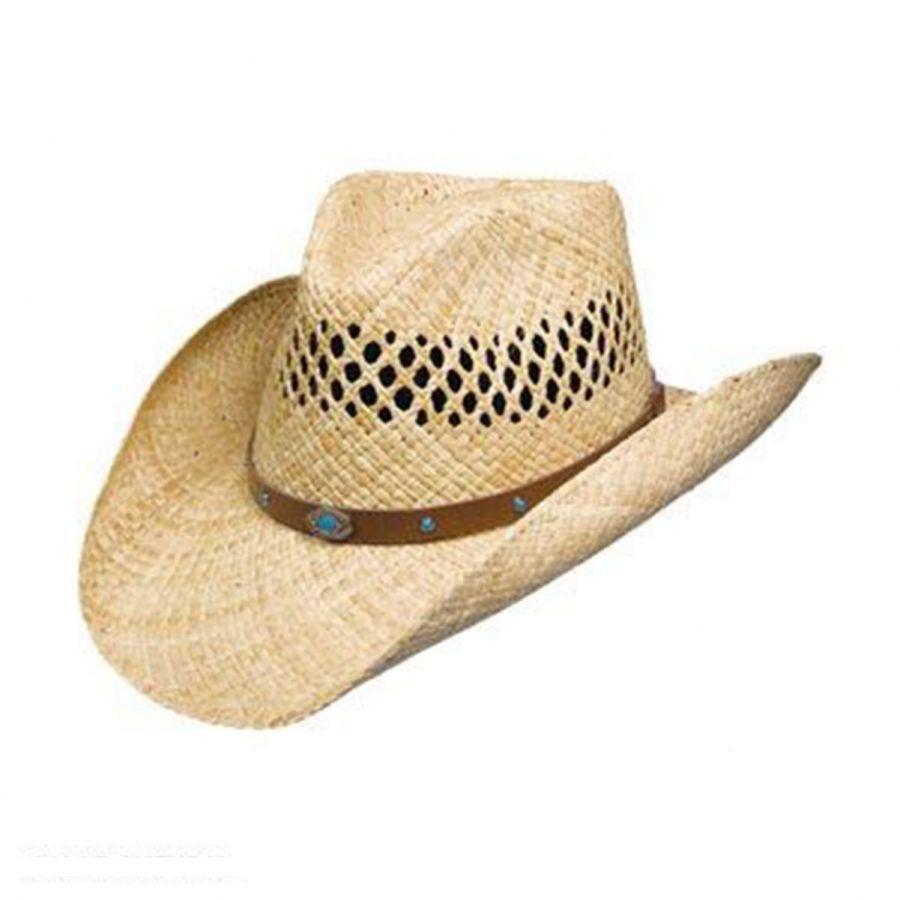 19e6cc6288f Stetson Madrid Raffia Straw Western Hat Hats. Justin Man Straw Cowboy Hat  Natural ...