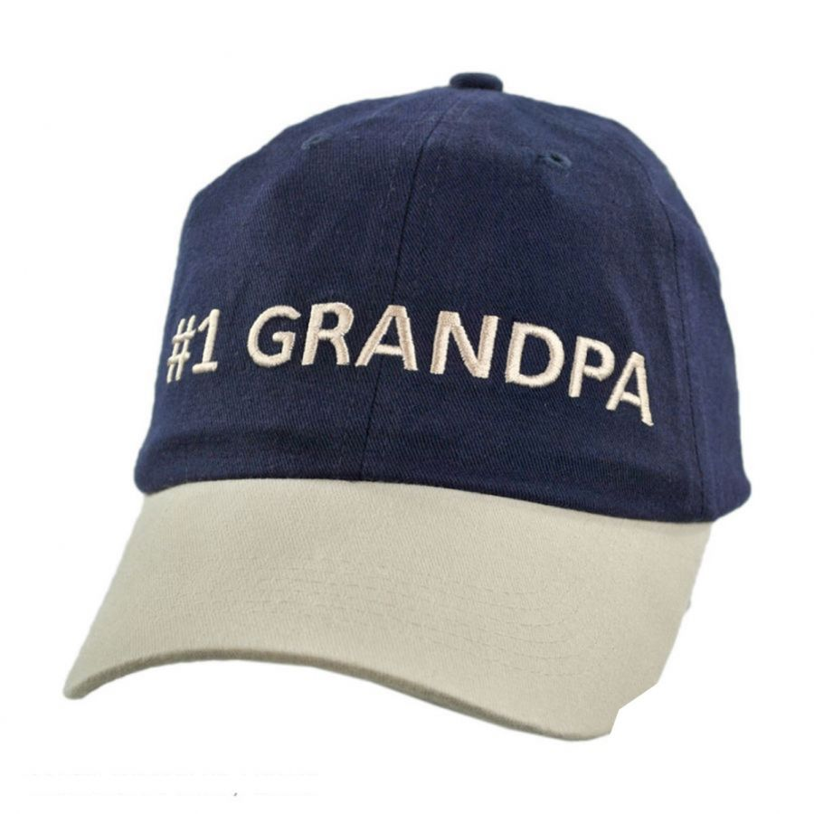 d9528db77 #1 Grandpa Strapback Baseball Cap Dad Hat