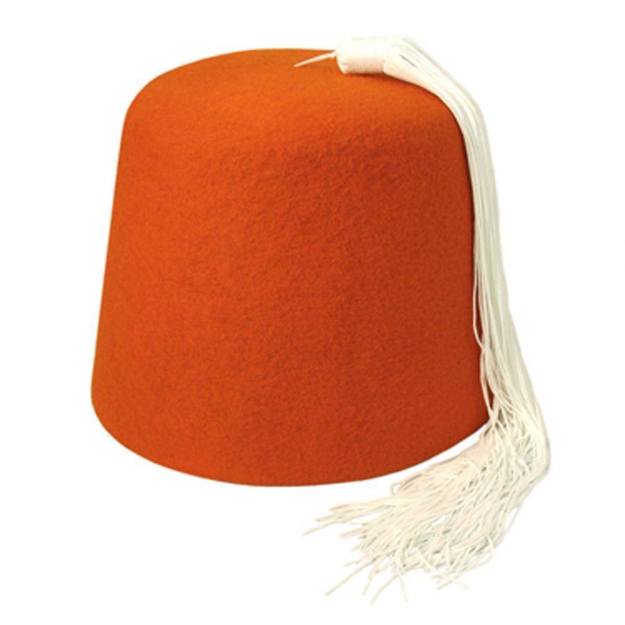 Village Hat Shop Orange Fez with White Tassel Fez e6bdabb40a0