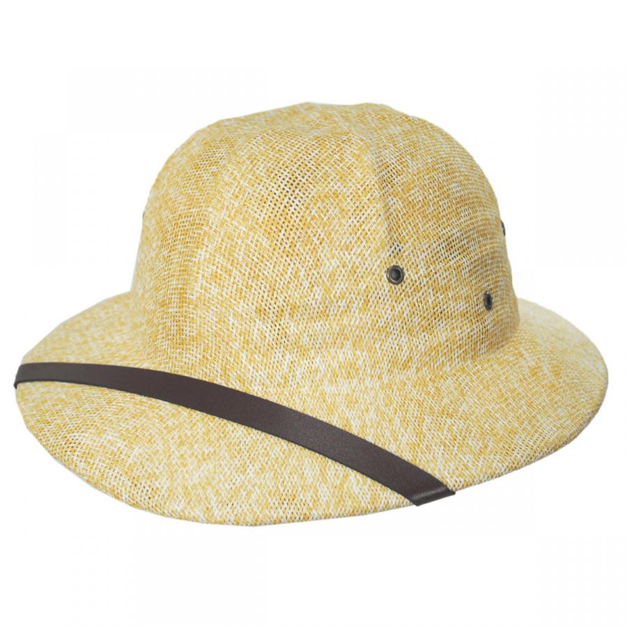 Adjustable Interior 100/% Paper Hat /& Faux Leathr Strap NEW Straw Pith Helmet