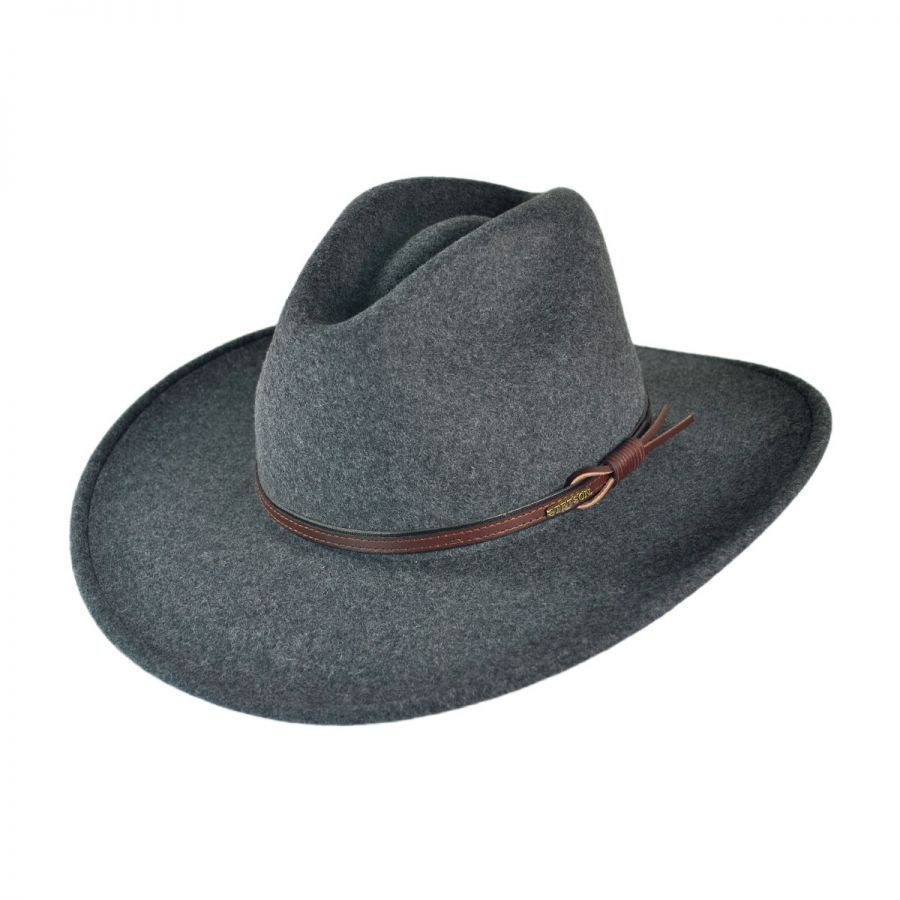 Stetson Gray Bull Crushable Wool Felt Aussie Hat All Fedoras 5e35e3d8e66
