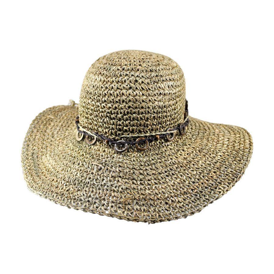 4357dd71e101d Tropical Trends Bohemian Seagrass Straw Floppy Sun Hat Straw Hats