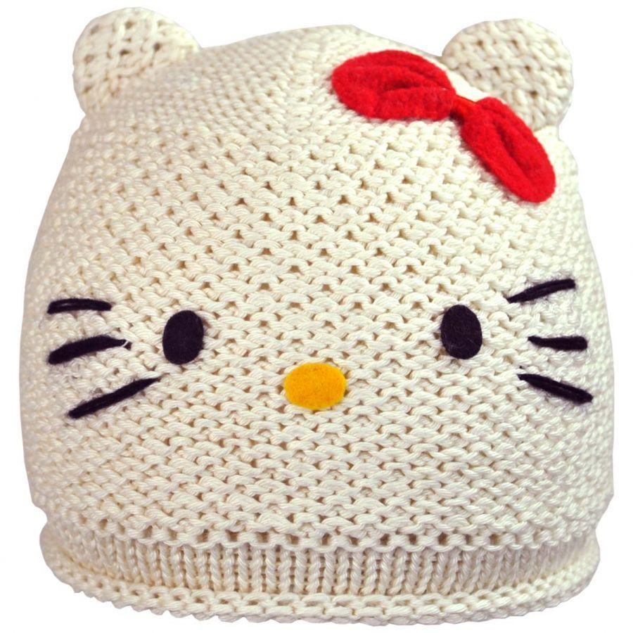 Knitting Pattern For Hello Kitty Hat : Hello Kitty Knit Beanie Hat Beanies