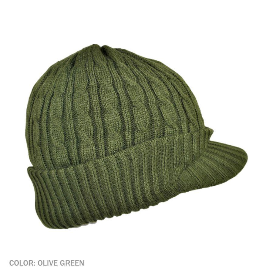 B2B Jaxon Cable Knit Visor Beanie Hat (Olive Green) Beanies