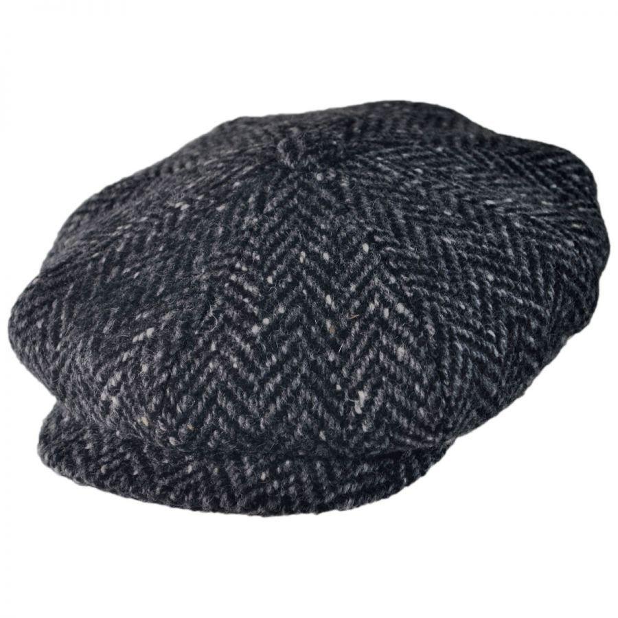Large Herringbone Donegal Tweed Wool Newsboy Cap - Black Charcoal alternate  view 1 ee9c964e59a
