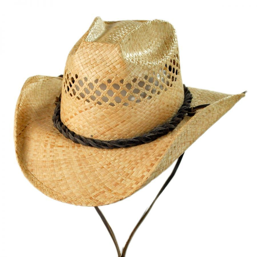 d11fab7eb700c Shady Brady Bon Jovi Raffia Straw Vent Western Hat Straw Hats