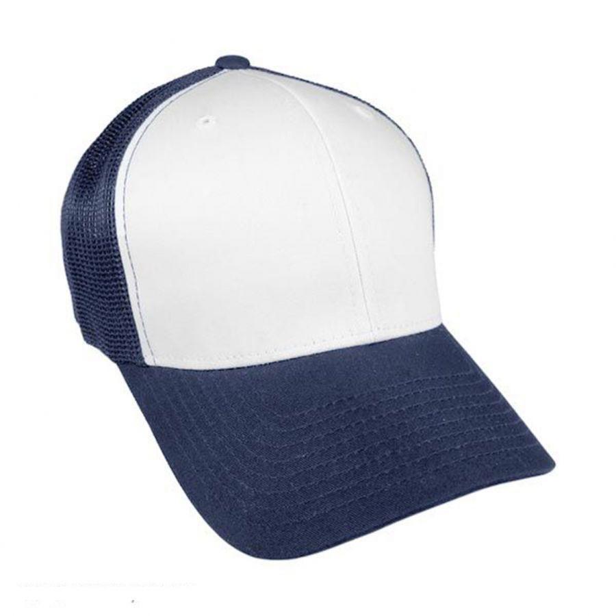 Flexfit White Front Trucker Fitted FlexFit Baseball Cap All Baseball ... a412bf13758