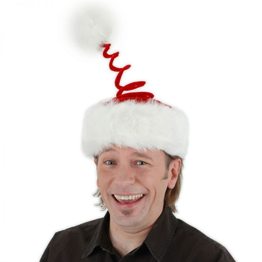 Add a little spring to your holiday fun with the Spring Coil Santa Hat. This festive Santa hat takes the classic look to a whole new level. The red cap includes a faux white fur trim and red spiral with a white pom pom attached on top.