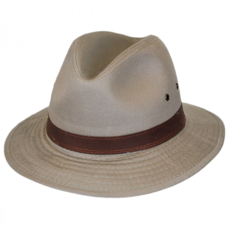 48c0d800c Packable Cotton Twill Safari Fedora Hat