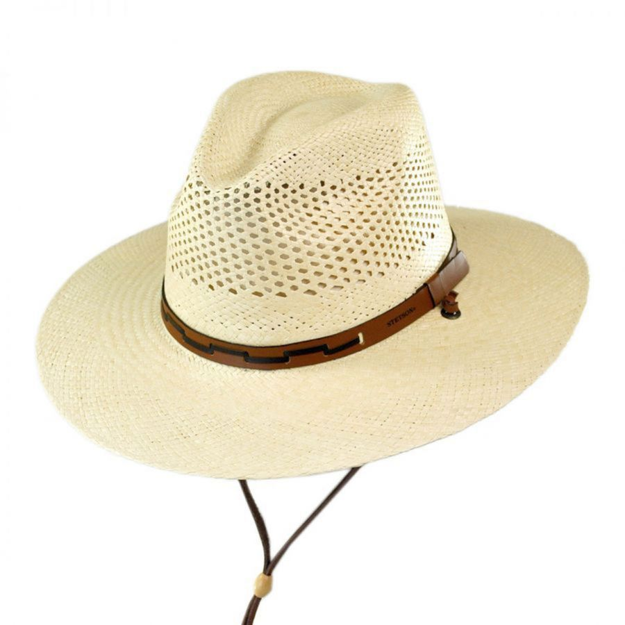 Stetson Airway Chincord Panama Straw Safari Hat Straw Hats 17f8a7673a5