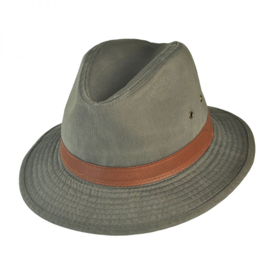 Dorfman Pacific Pany Packable Cotton Twill Safari Fedora Hat All 12fa7d28329