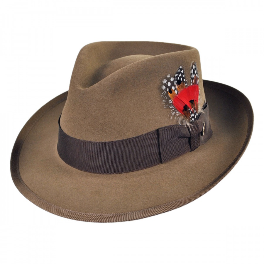 felt hat - a hat made of felt with a creased crown fedora, homburg, Stetson, trilby chapeau, hat, lid - headdress that protects the head from bad weather; has shaped crown and usually a brim.