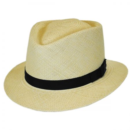 Pantropic Rincon Panama Straw Diamond Crown Fedora Hat