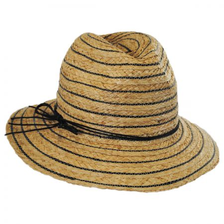Karen Kane Stripe Raffia Straw Fedora Hat