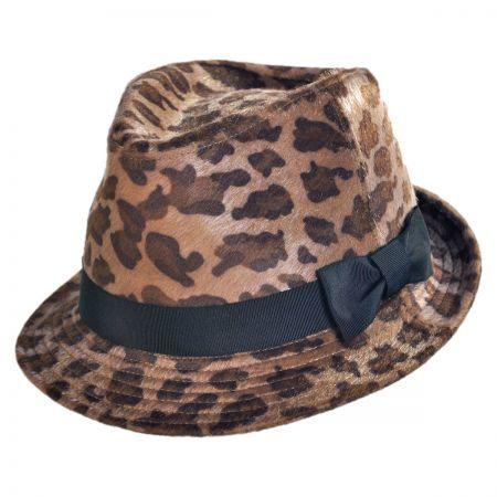 San Diego Hat Company Faux Fur Leopard Fedora Hat