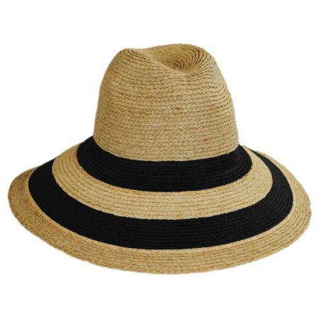 Gottex Newport Raffia Straw Wide Brim Fedora Hat