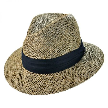Jaxon Hats Seagrass Straw Safari Fedora Hat
