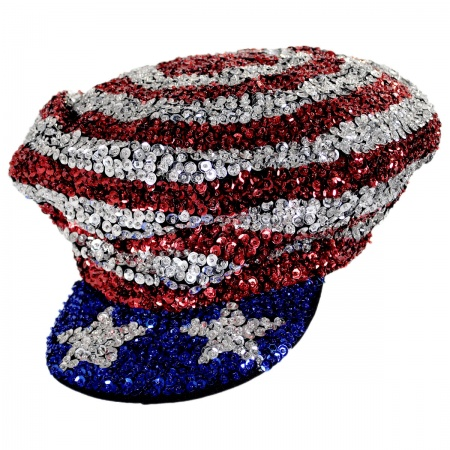 JC Sequins Stars and Stripes Sequin Brando Cap