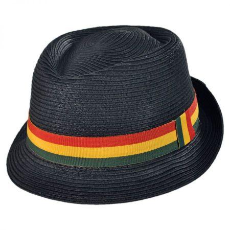 Kenny K Rasta Toyo Straw Diamond Crown Fedora Hat