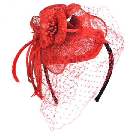 Flower and Veil Straw Fascinator Headband alternate view 7