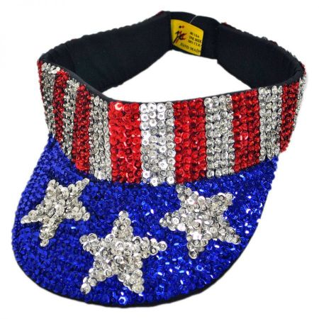 JC Sequins Seq-Visor-Stripes-Star Visor