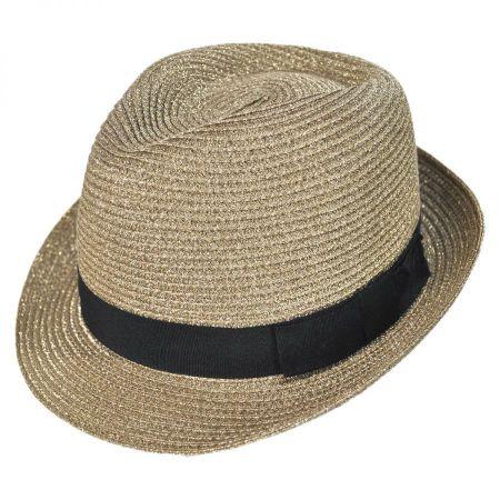 Jeanne Simmons Metallic Straw Trilby Fedora Hat
