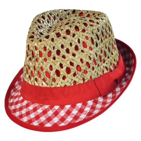 Kid's Picnic Cotton and Straw Fedora Hat alternate view 5