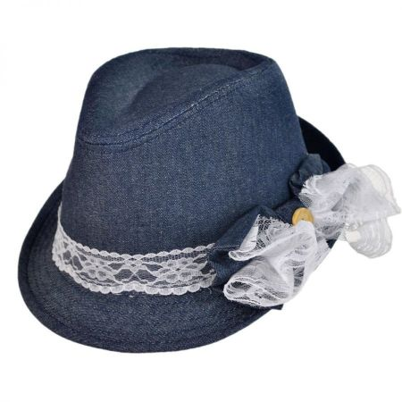 Denim and Lace Fedora Hat - Youth
