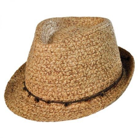 Tommy Bahama Stone and Leather Fedora Hat