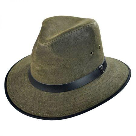 Jaxon Hats Nubuck Leather Safari Fedora Hat