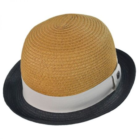 Brixton Hats Packable Straw Bowler Fedora