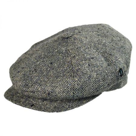 City Sport Caps Herringbone Silk Newsboy Cap - Black/Tan