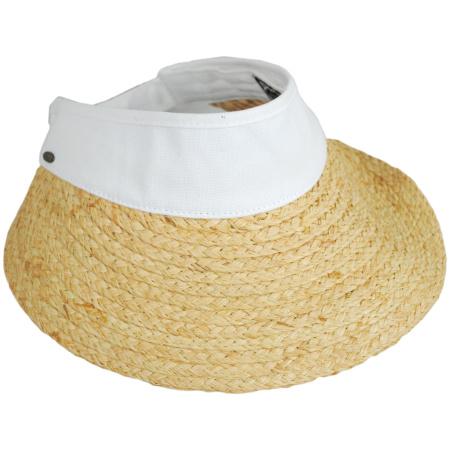 Scala Cotton Band Raffia Straw Visor