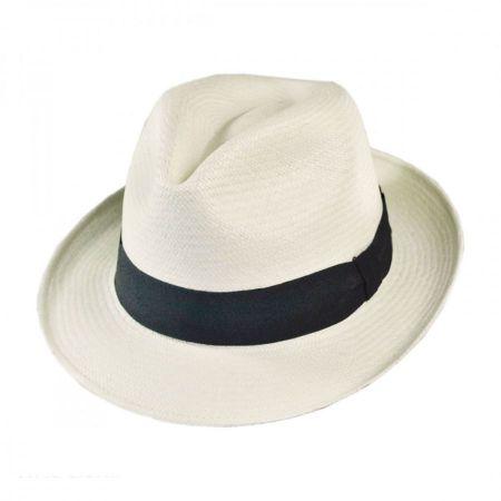 B2B Jaxon Diamante Panama Straw Fedora Hat