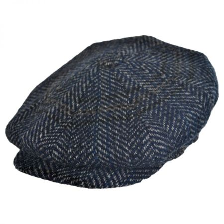 City Sport Caps Herringbone Plaid Donegal Tweed Wool Newsboy Cap
