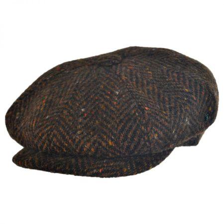 Large Herringbone Donegal Tweed Wool Newsboy Cap - Rust