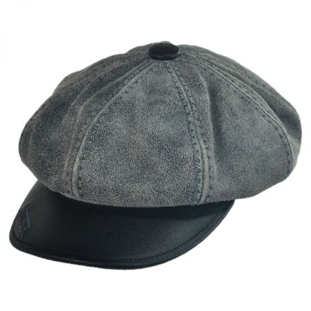 Carlos Santana Guru Distressed Leather Newsboy Cap