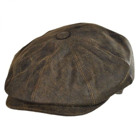 City Sport Caps Distressed Leather Newsboy Cap