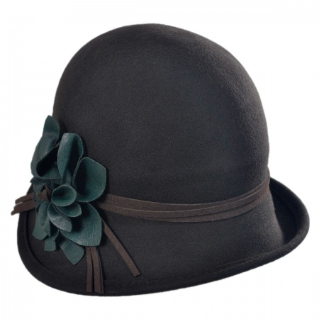 Scala Faux Leather Flower Cloche Hat