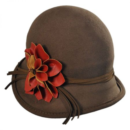 Scala Faux Leather Flower Cloche Hat