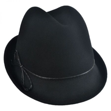 Scala Leather Bow Wool Felt Trilby Fedora Hat