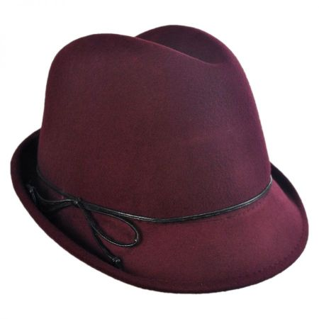 Scala Leather Bow Wool Felt Trilby Fedora Hat