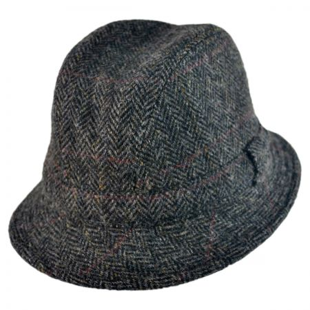 City Sport Caps Harris Tweed Windowpane Walker Fedora Hat