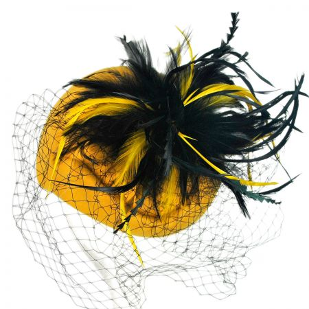 Something Special Feather & Veil Pillbox Hat