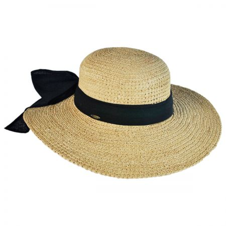 Scala Linen Band Raffia Straw Swinger Hat