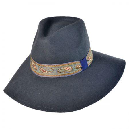 Jeanne Simmons Paisley Wool Felt Floppy Fedora Hat