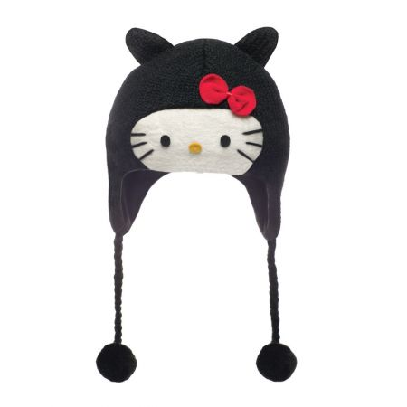 Hello Kitty Hello Kitty Black Wool Peruvian Beanie Hat