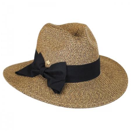 Bow Toyo Straw Wide Brim Fedora Hat alternate view 2