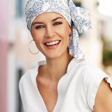 Christine by Wallaroo Hats Basic Long Crinkled Cotton Blue Flowers Headwrap