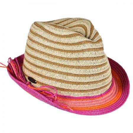 Panama Jack Child's Striped Fedora Hat